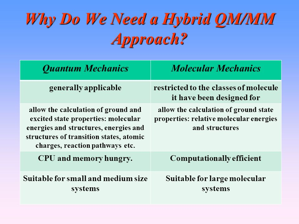 Why Do We Need a Hybrid QM/MM Approach