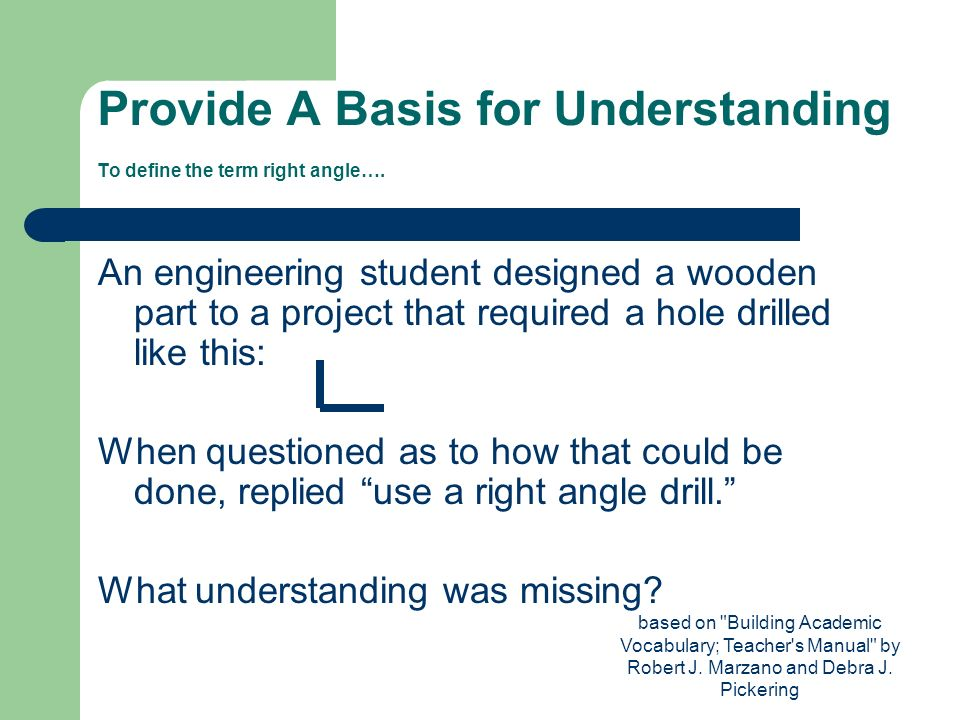 Provide A Basis for Understanding To define the term right angle….