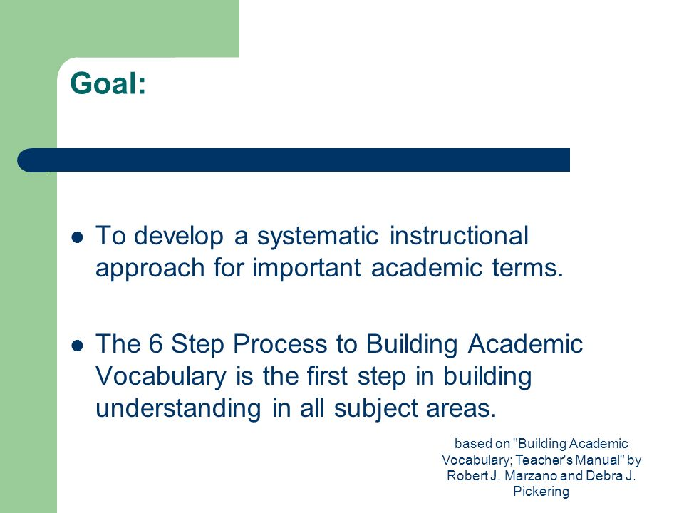 Goal: To develop a systematic instructional approach for important academic terms.