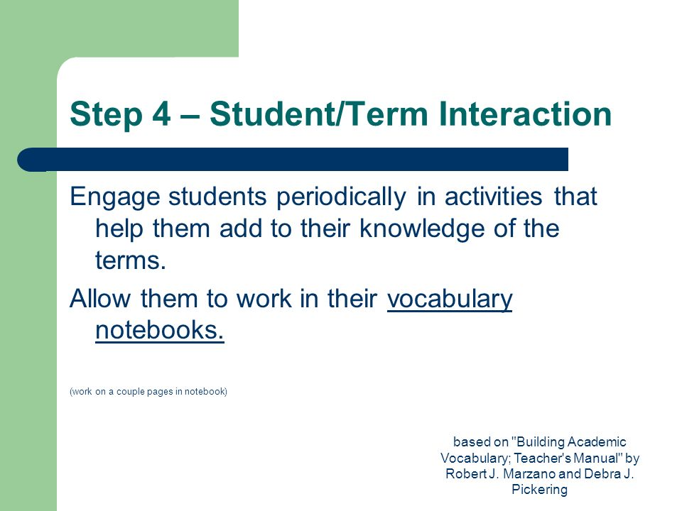 Step 4 – Student/Term Interaction