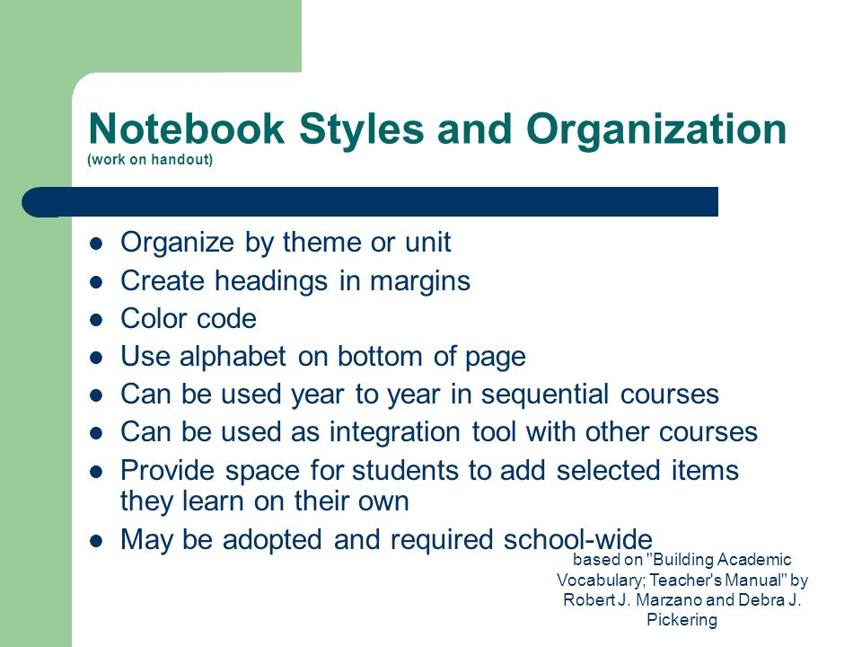 Notebook Styles and Organization (work on handout)