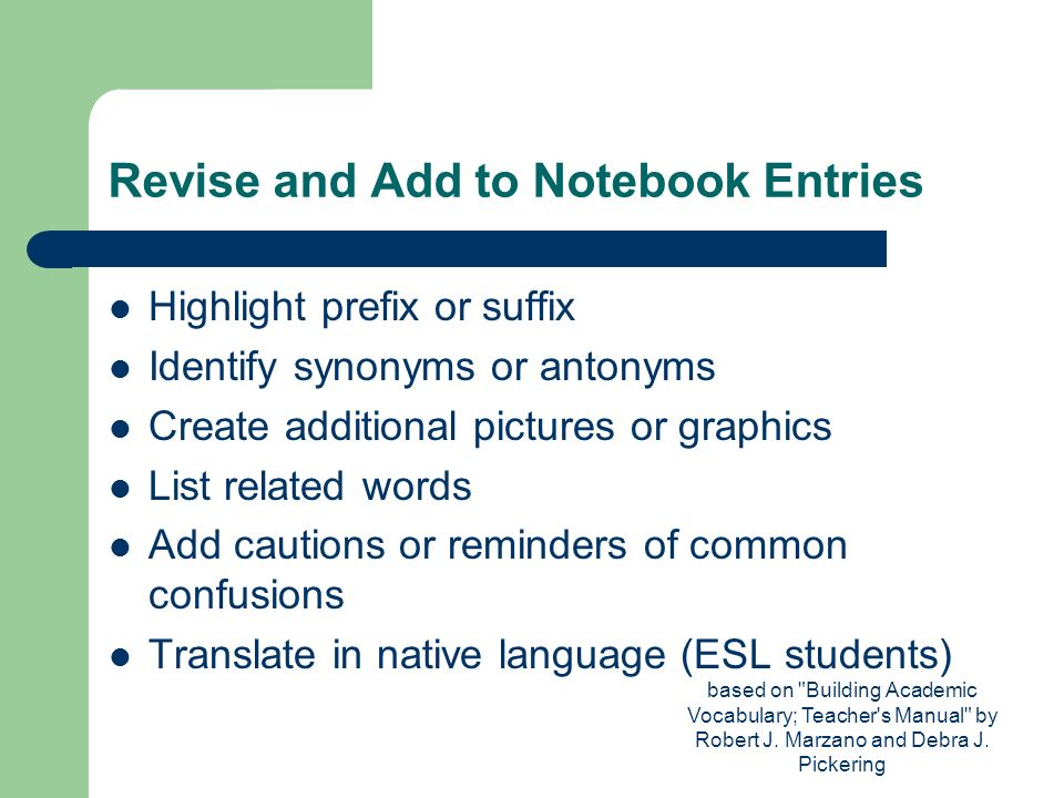 Revise and Add to Notebook Entries