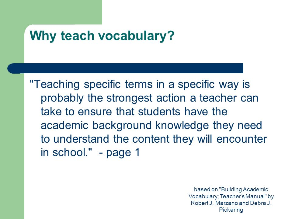 Why teach vocabulary