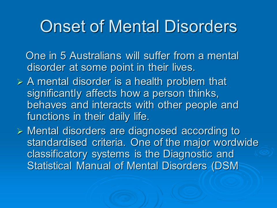 Onset of Mental Disorders
