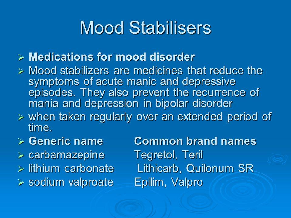 Mood Stabilisers Medications for mood disorder