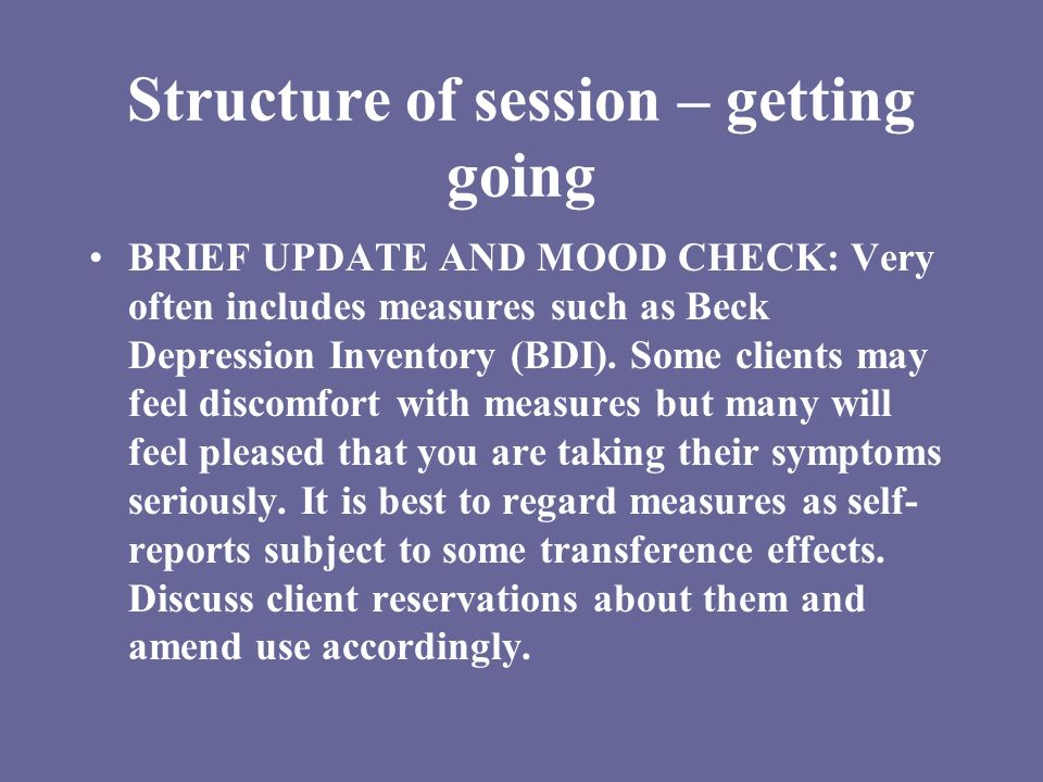 Structure of session – getting going