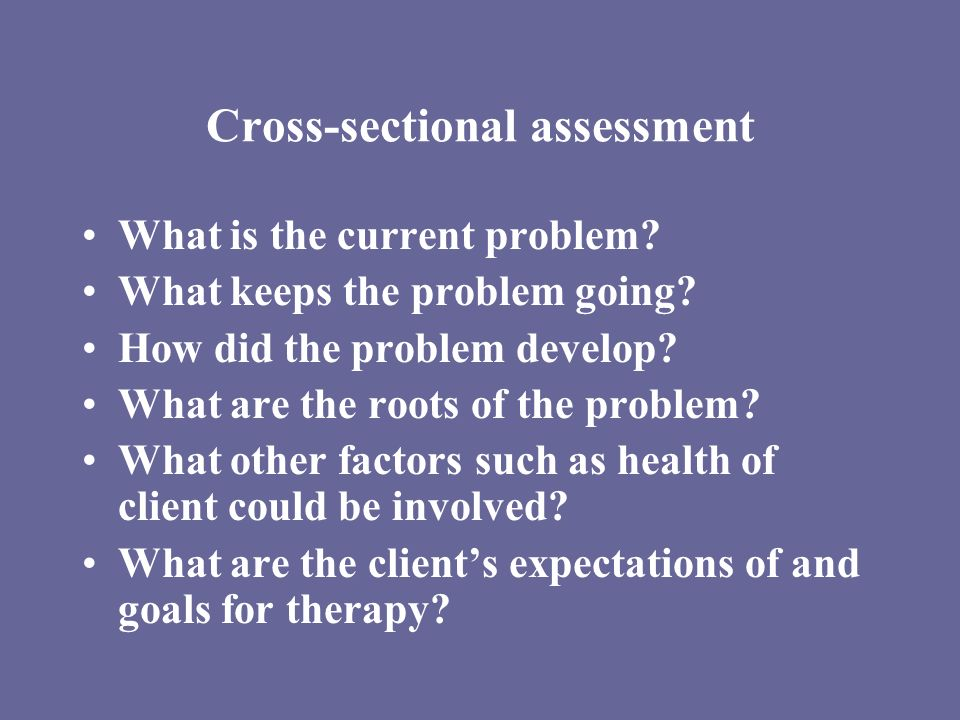 Cross-sectional assessment