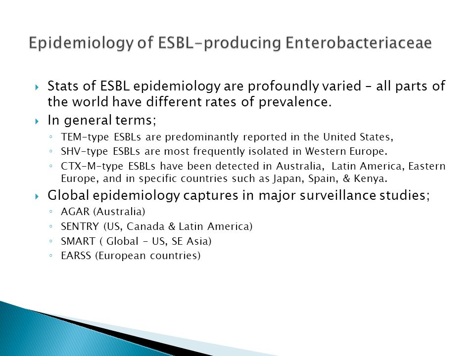 Epidemiology of ESBL-producing Enterobacteriaceae