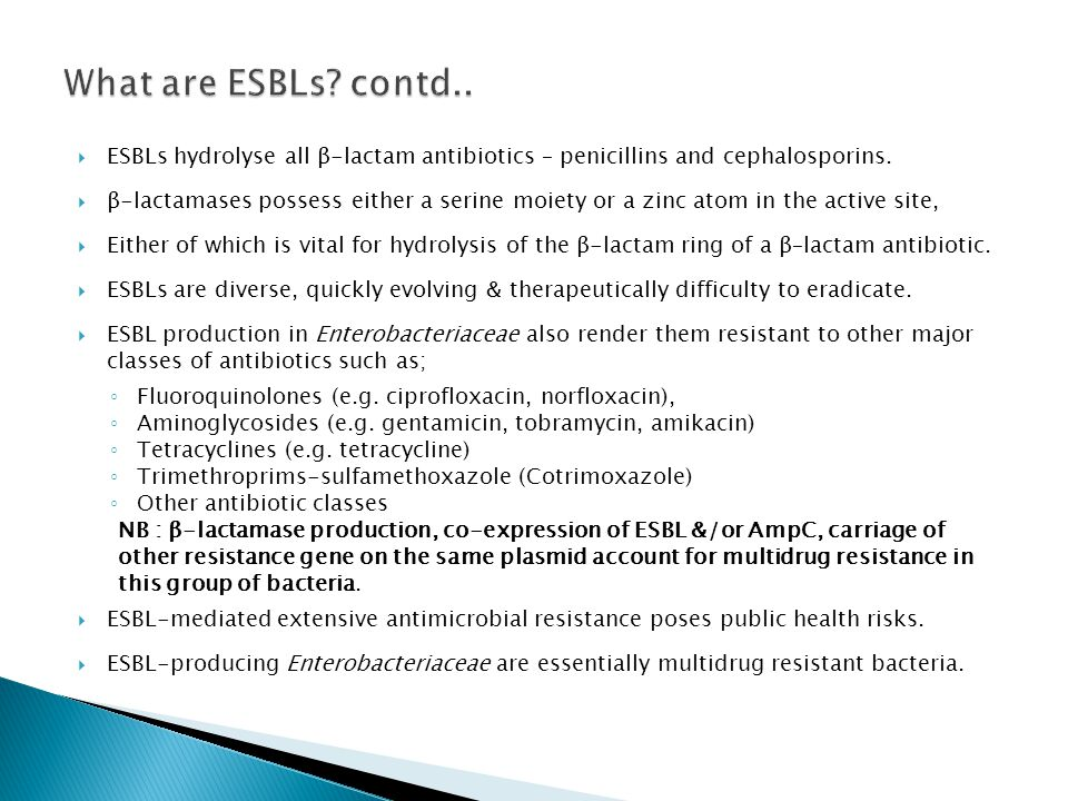 What are ESBLs contd.. ESBLs hydrolyse all β-lactam antibiotics – penicillins and cephalosporins.