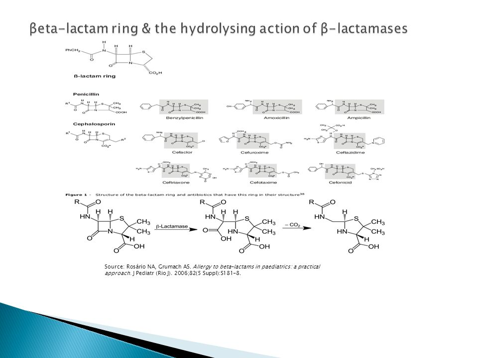 βeta-lactam ring & the hydrolysing action of β-lactamases
