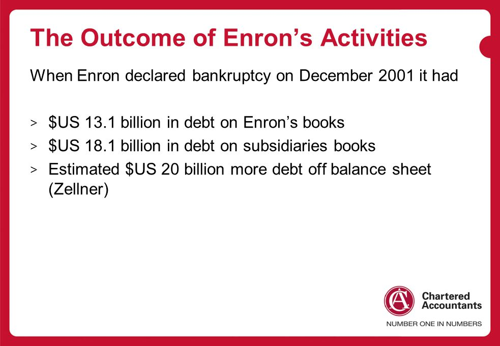 The Outcome of Enron's Activities