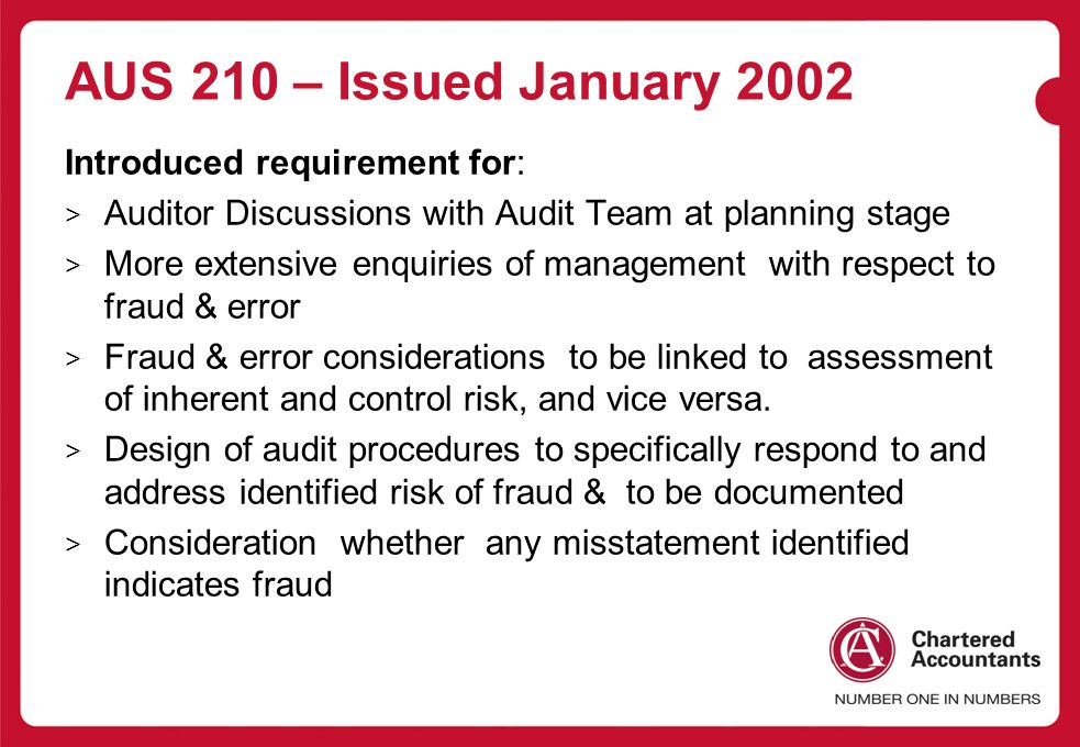 AUS 210 – Issued January 2002 Introduced requirement for: