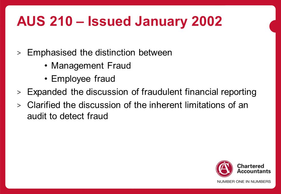 AUS 210 – Issued January 2002 Emphasised the distinction between