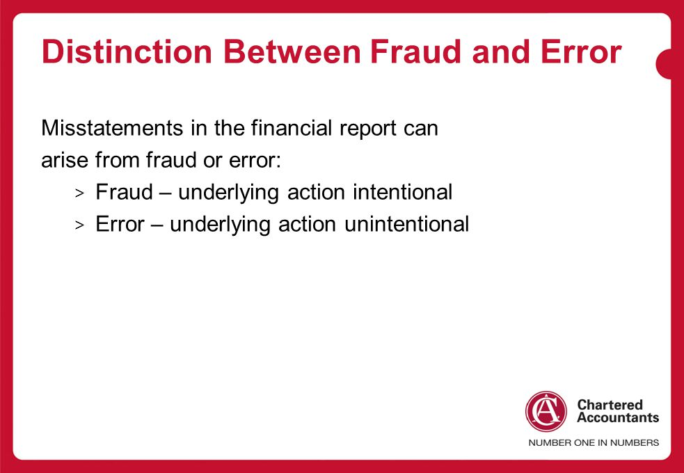 Distinction Between Fraud and Error
