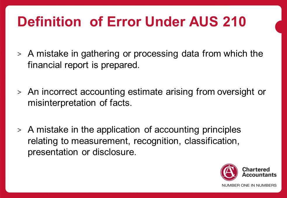 Definition of Error Under AUS 210
