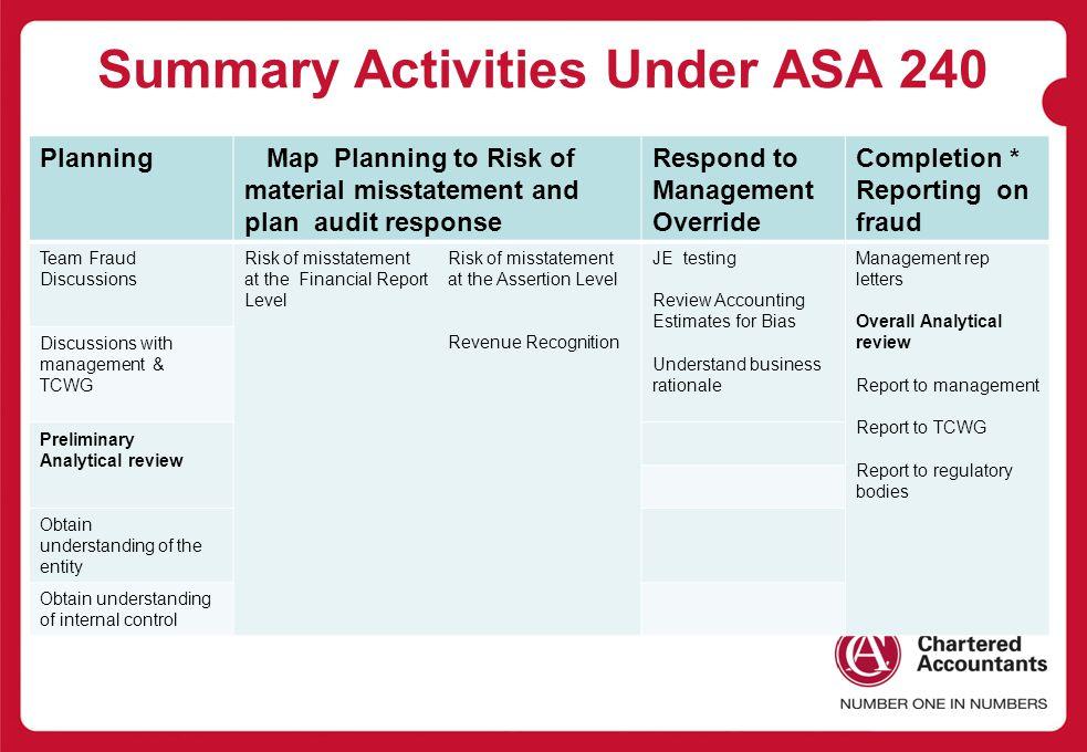 Summary Activities Under ASA 240