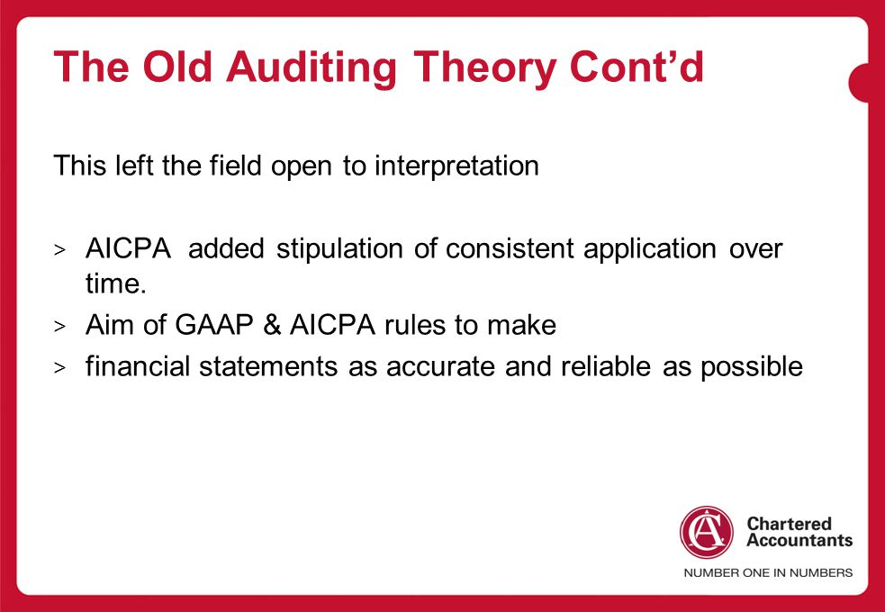 The Old Auditing Theory Cont'd