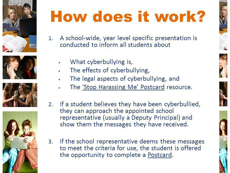 How does it work A school-wide, year level specific presentation is conducted to inform all students about.
