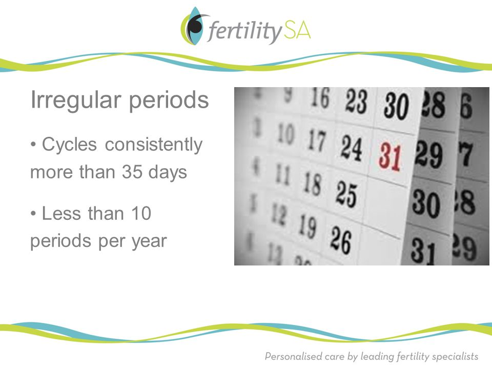 Irregular periods • Cycles consistently more than 35 days