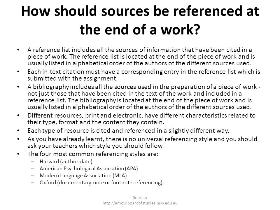 How should sources be referenced at the end of a work