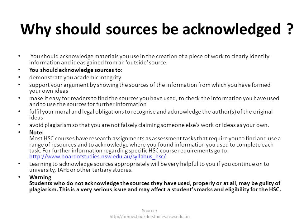 Why should sources be acknowledged