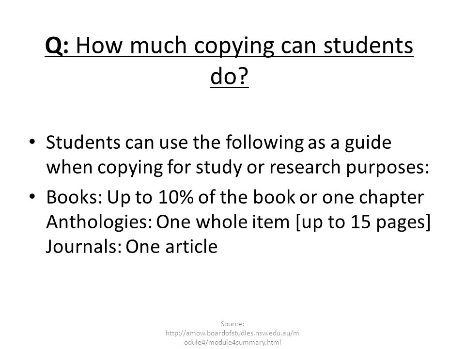 Q: How much copying can students do