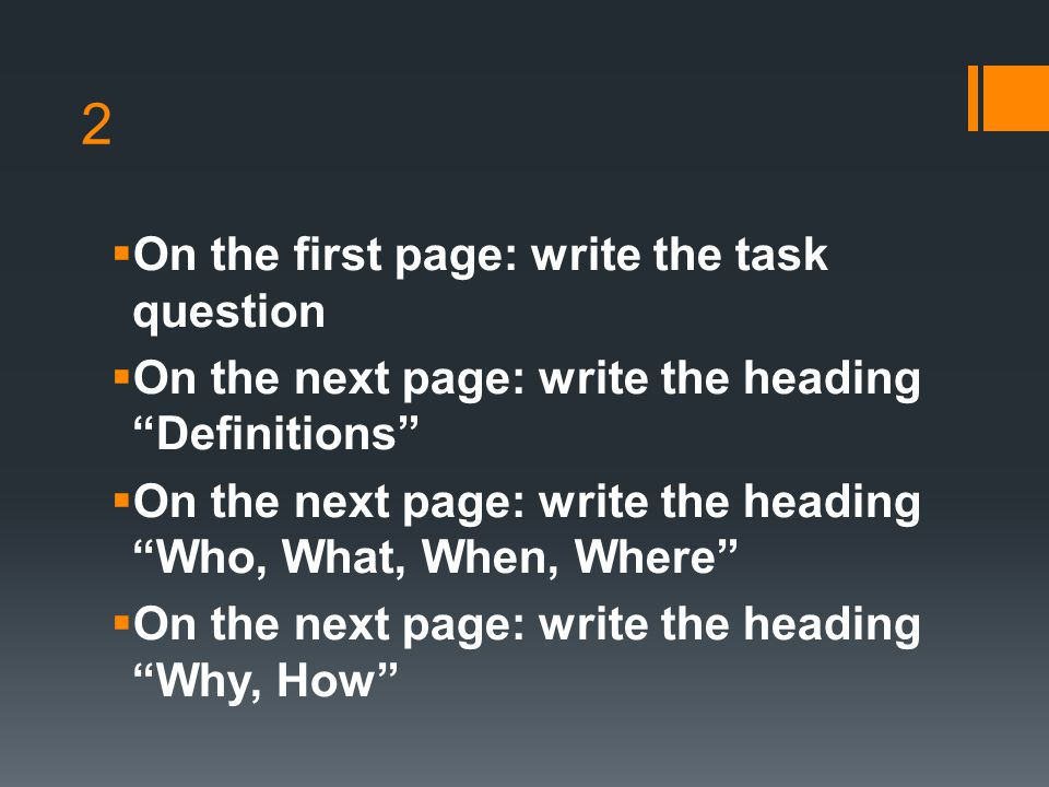 2 On the first page: write the task question