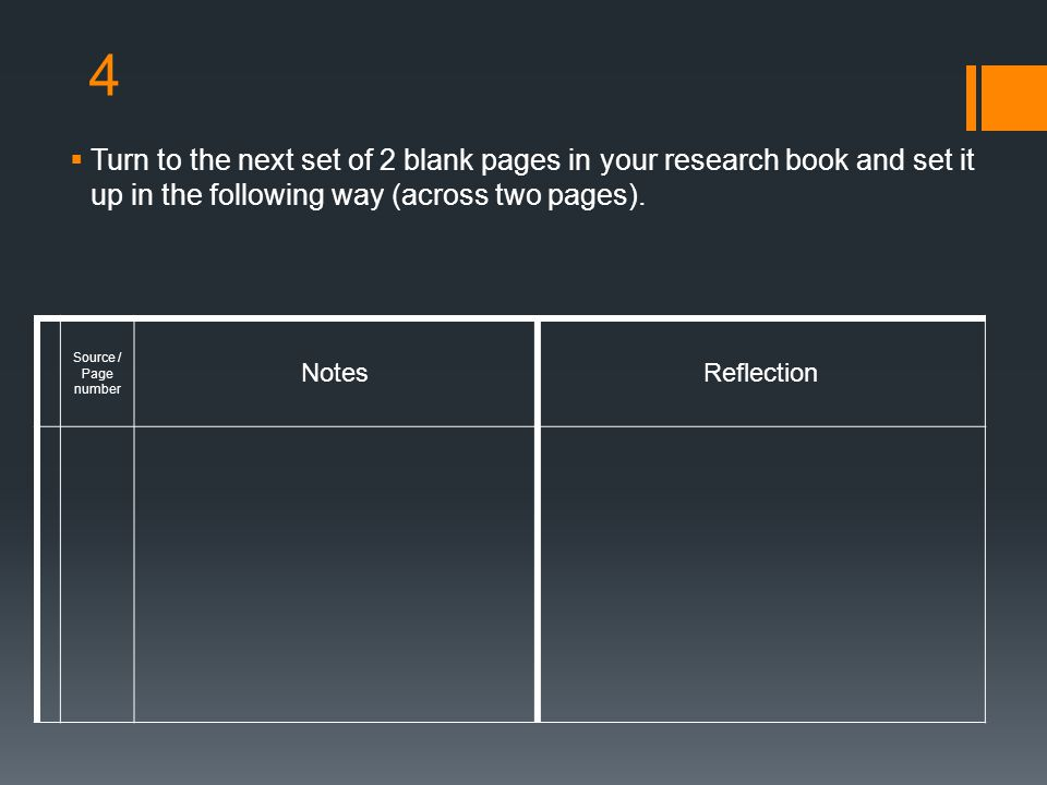 4 Turn to the next set of 2 blank pages in your research book and set it up in the following way (across two pages).