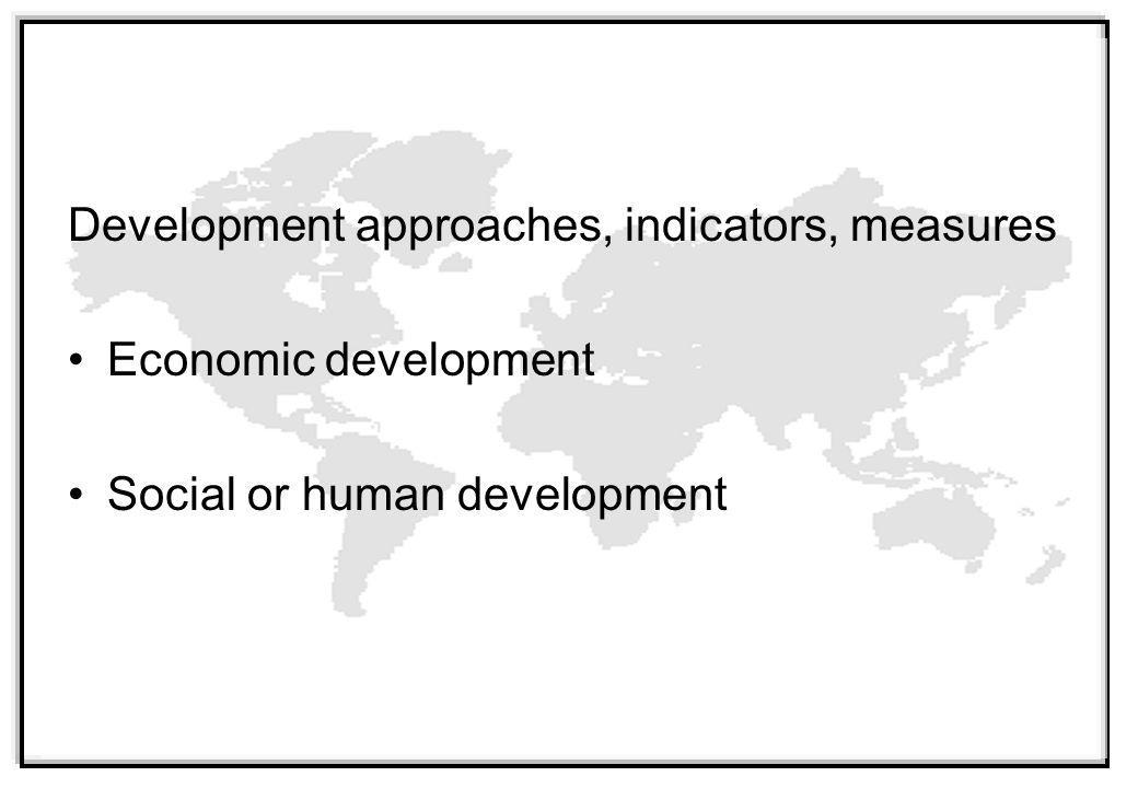 Development approaches, indicators, measures Economic development