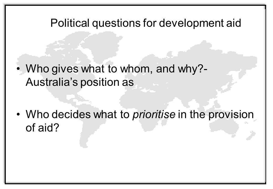 Political questions for development aid