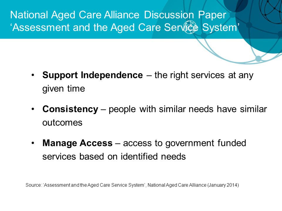 National Aged Care Alliance Discussion Paper 'Assessment and the Aged Care Service System'
