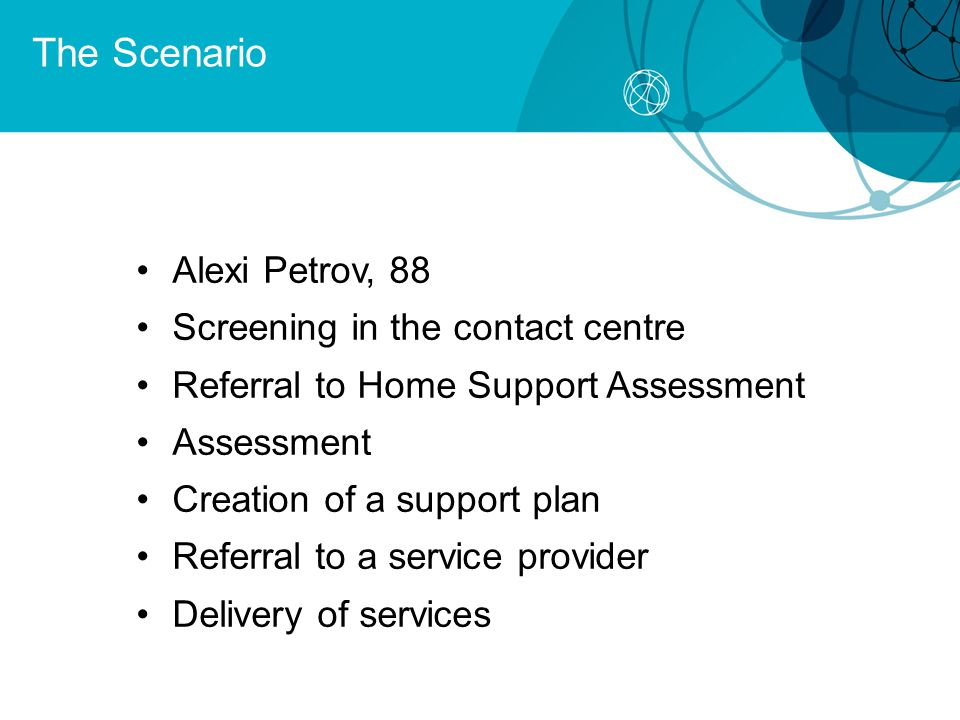 The Scenario Alexi Petrov, 88 Screening in the contact centre