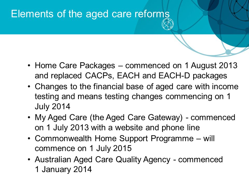 Elements of the aged care reforms