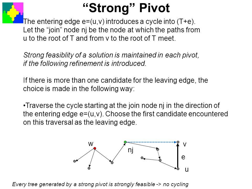 Strong Pivot The entering edge e=(u,v) introduces a cycle into (T+e). Let the join node nj be the node at which the paths from.