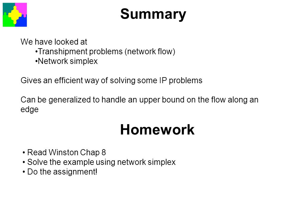 Summary Homework We have looked at