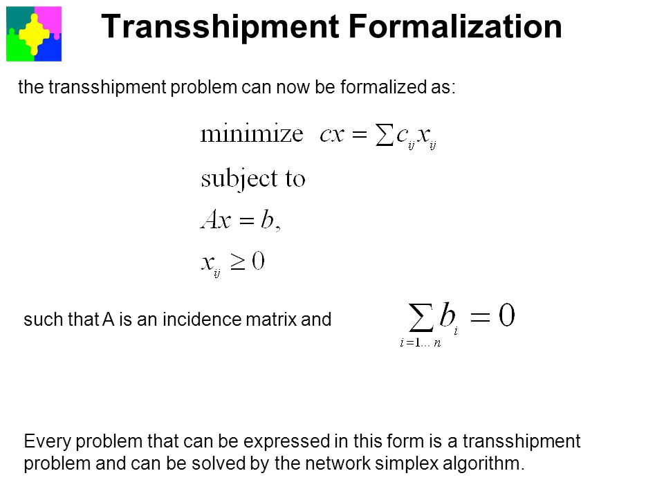 Transshipment Formalization