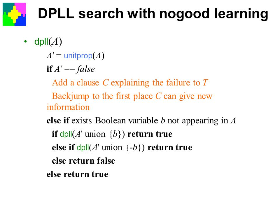 DPLL search with nogood learning