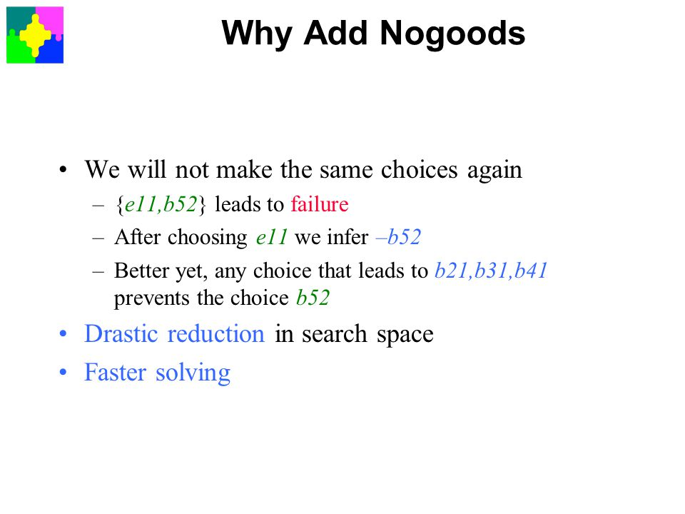 Why Add Nogoods We will not make the same choices again