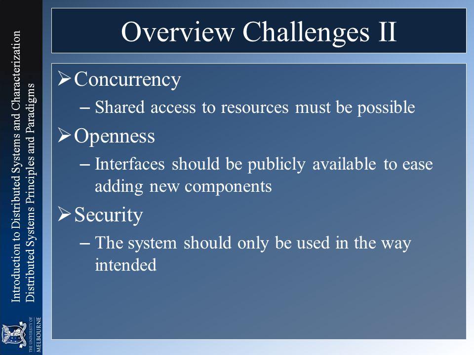 Overview Challenges II