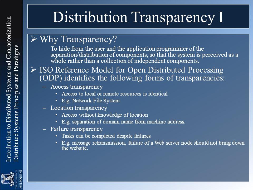 Distribution Transparency I