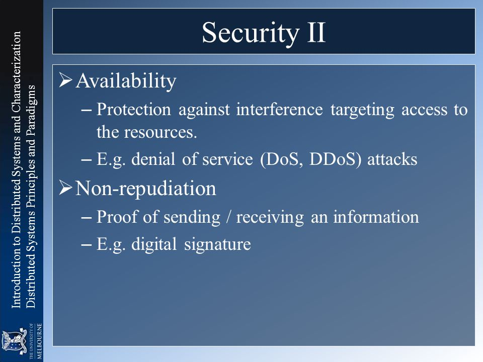 Security II Availability Non-repudiation