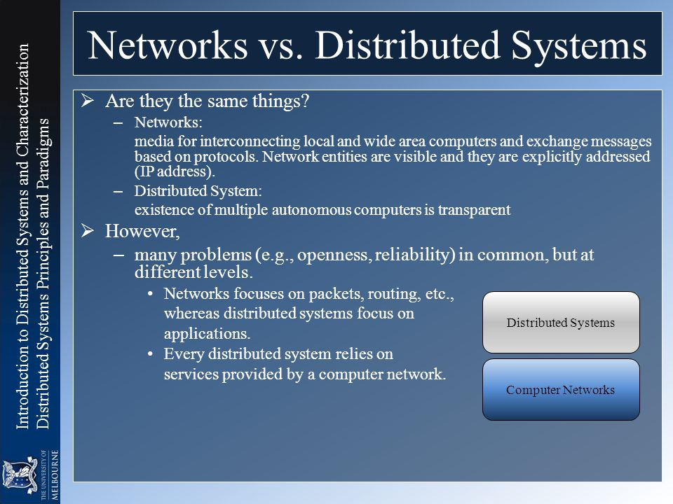 Networks vs. Distributed Systems