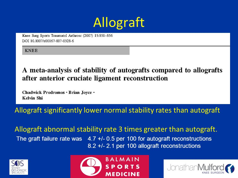 Allograft Allograft significantly lower normal stability rates than autograft. Allograft abnormal stability rate 3 times greater than autograft.