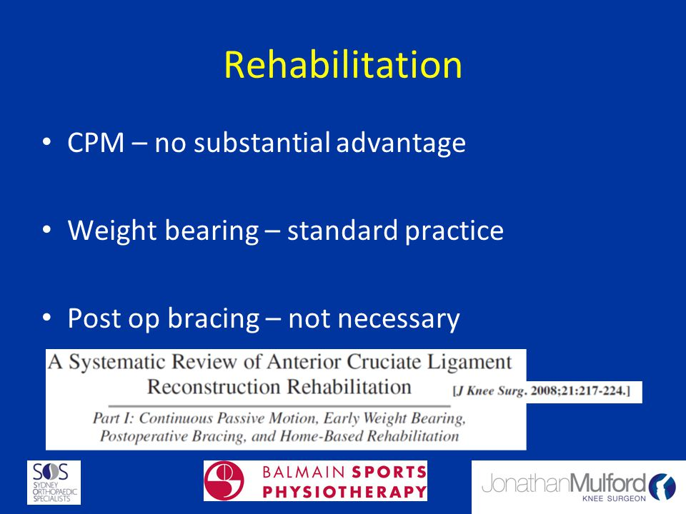 Rehabilitation CPM – no substantial advantage