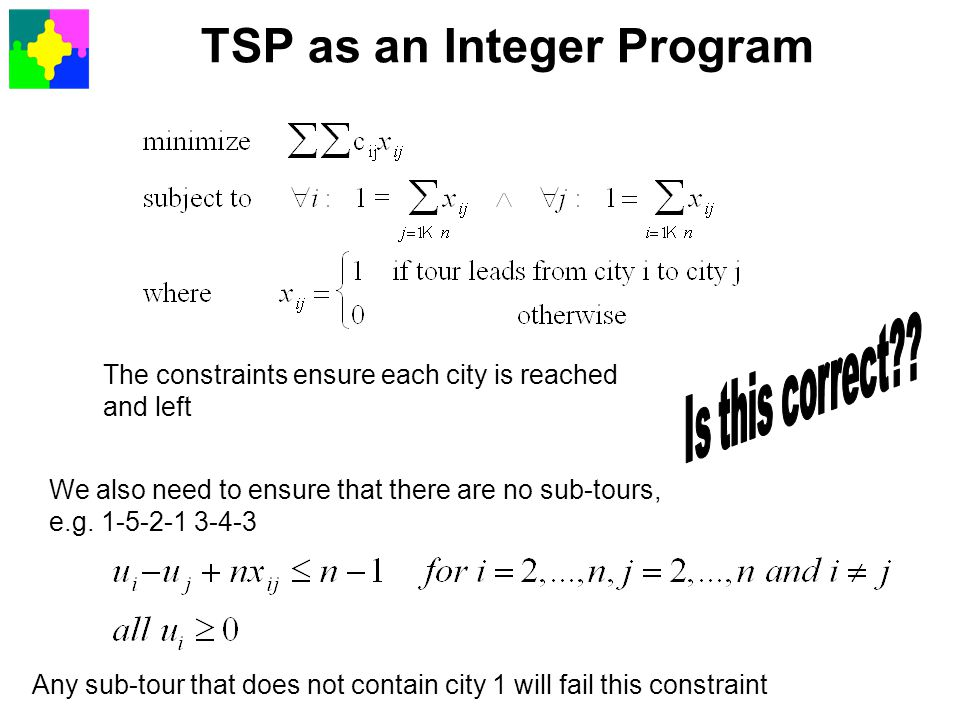 TSP as an Integer Program