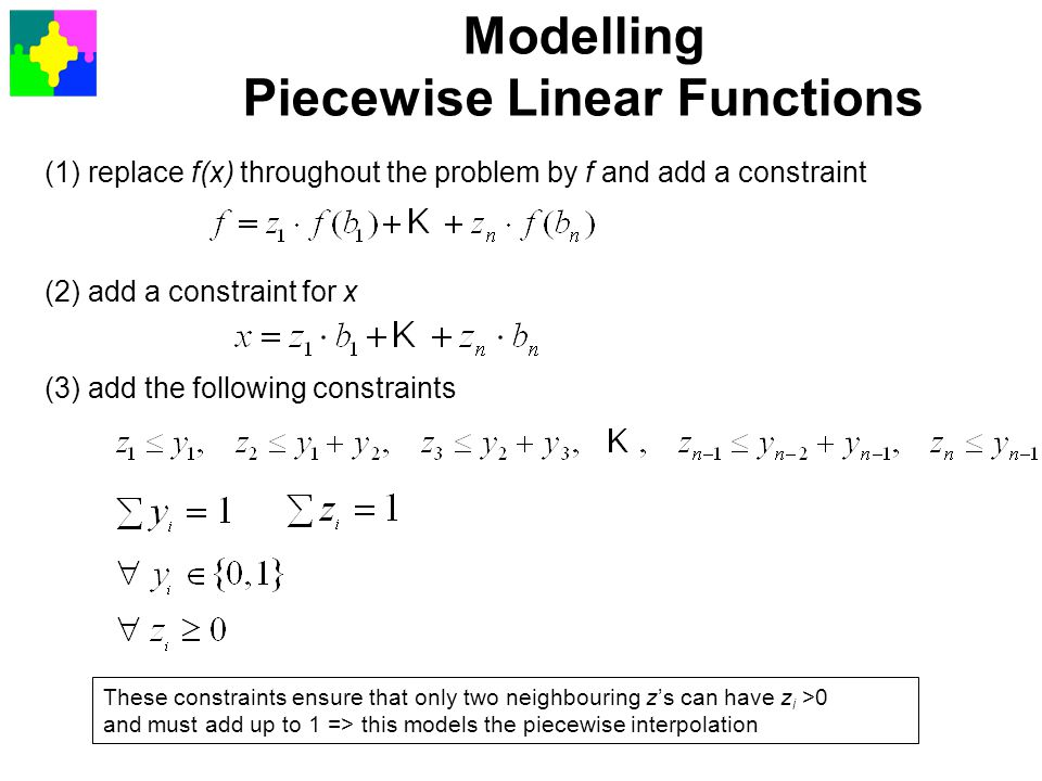 Modelling Piecewise Linear Functions