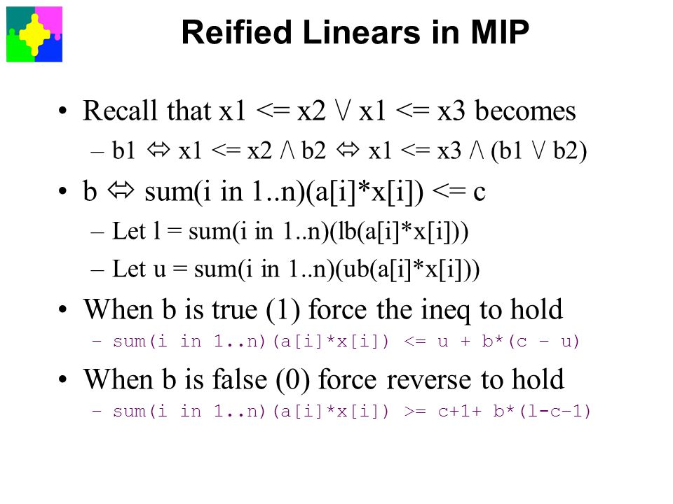 Reified Linears in MIP Recall that x1 <= x2 \/ x1 <= x3 becomes