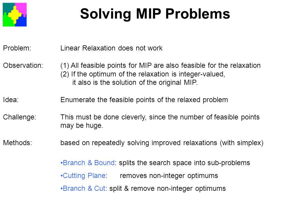 Solving MIP Problems Problem: Linear Relaxation does not work