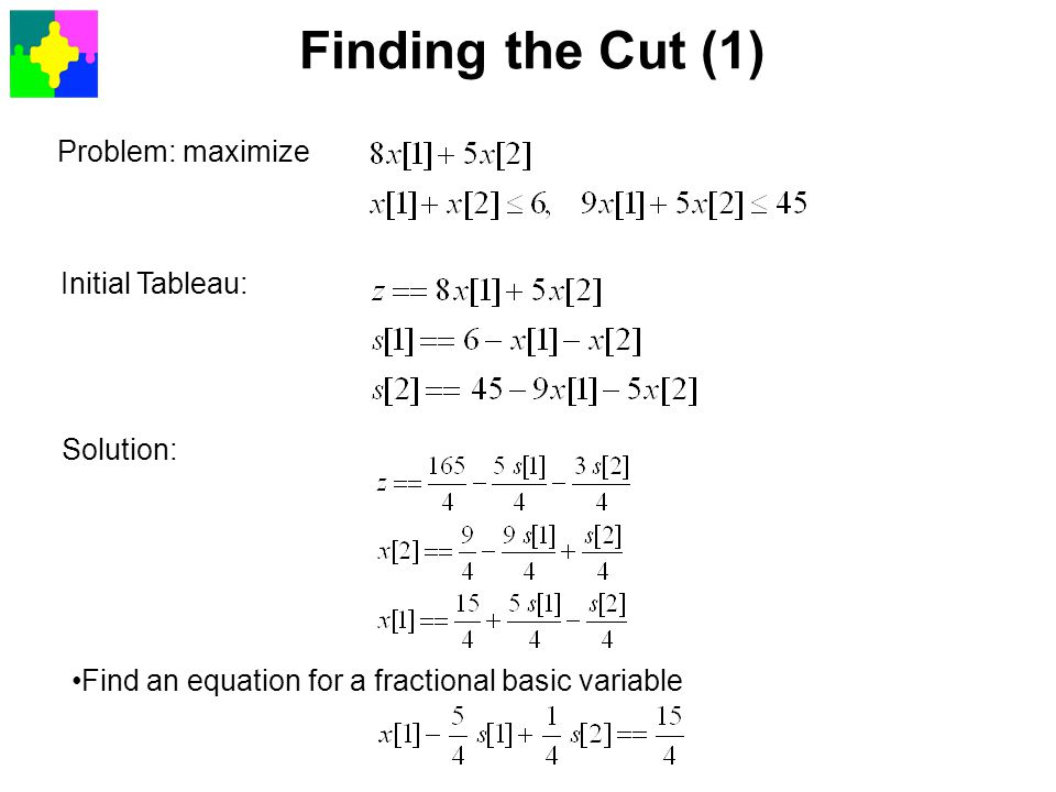 Finding the Cut (1) Problem: maximize Initial Tableau: Solution: