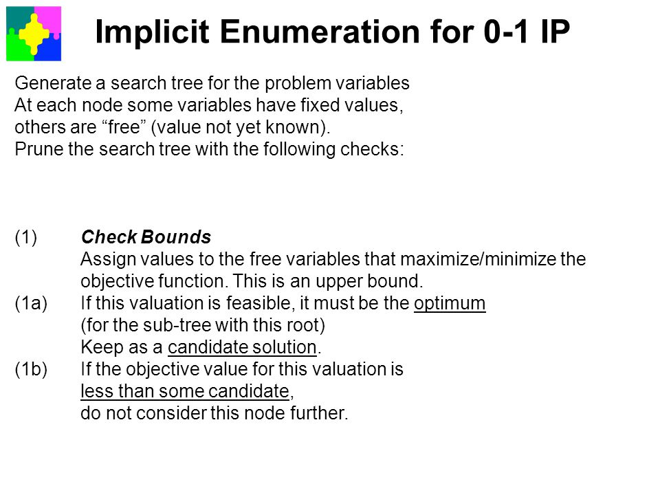 Implicit Enumeration for 0-1 IP